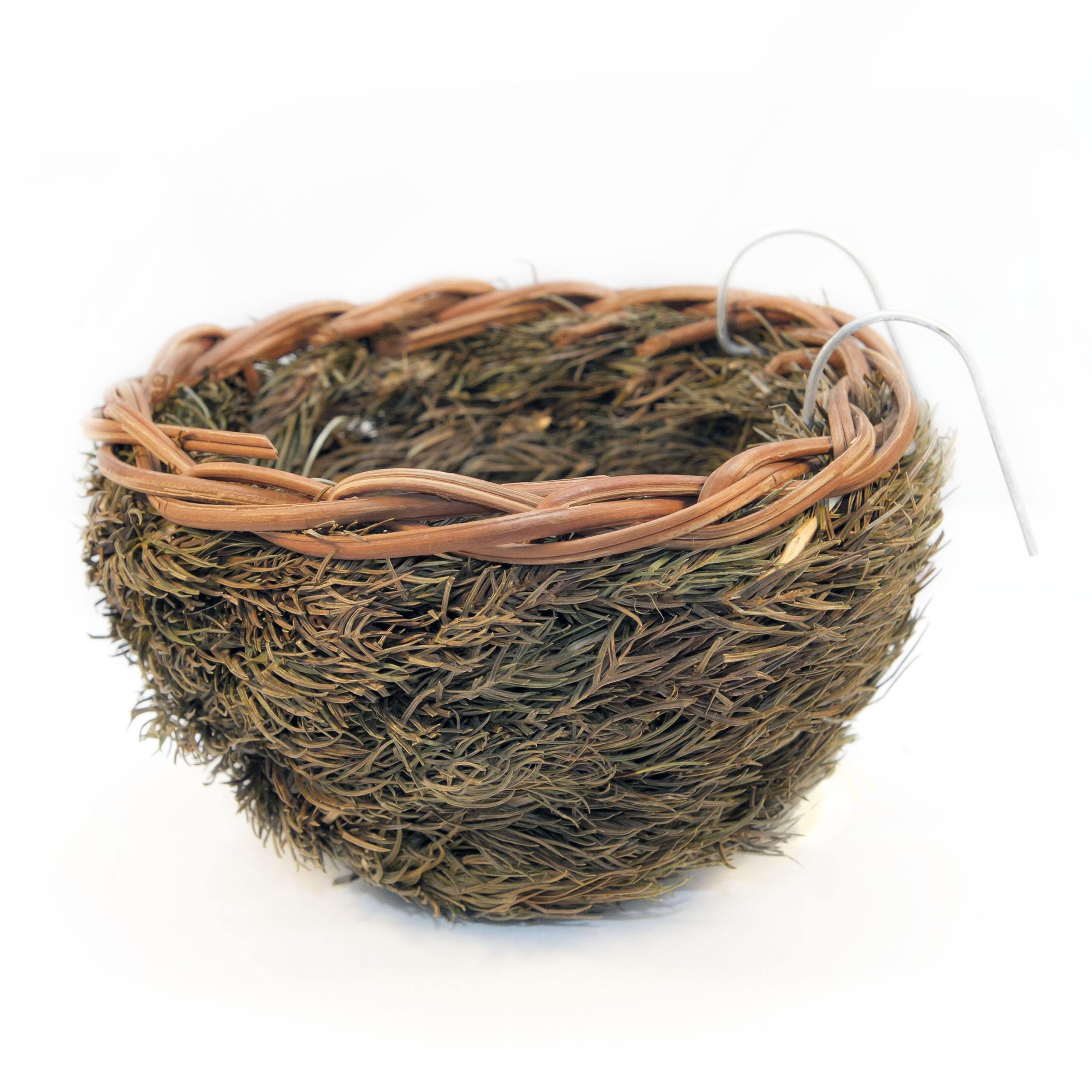 Bird nest with wire hooks large (pine)